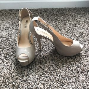 GUESS nude platform heels with buckle strap
